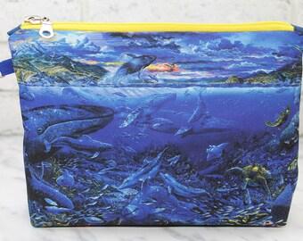 Whale print Cosmetic Bag Makeup pouch Travel bag Accessory bag Zipper pouch Storage bag Makeup bag Pencil Case Toiletry bag