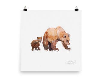 Grizzly mom and cub print