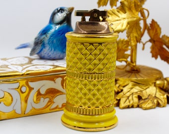 Yellow and Gold Ceramic Lighter - Made in Italy - Mid-Century