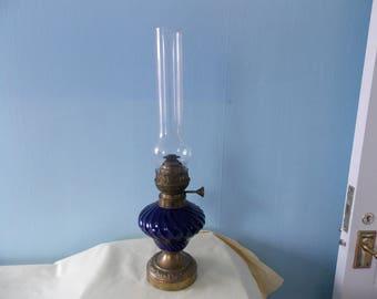 Vintage French Blue fluted ceramic Oil Lamp