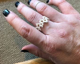 Handmade Needle Tatted Ring - Any Size