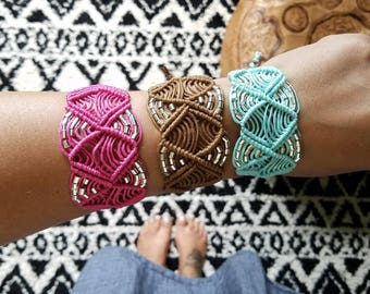 Macrame Cuff - Macrame Bracelet - Boho Jewelry - Bohemian Jewelry - Boho Accessories - Macrame Accessories - Macrame Jewelry - Bohemian Cuff