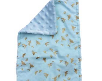 BABY BURP CLOTH -  fly • away ~ blue & gold