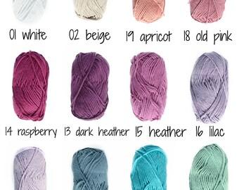 A PACK of 2-9 balls, DROPS <3 You #8, Crochet yarn, Knitting yarn, Cotton yarn, Baby yarn, Soft cotton, Summer yarn, Cotton yarn