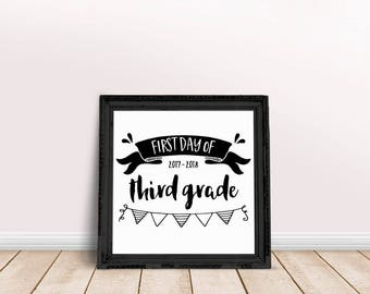 First Day of Third Grade Sign, Chalkboard Sign, First Day of School Chalkboard Sign, Printable Chalkboard Sign, Back to School Chalkboard