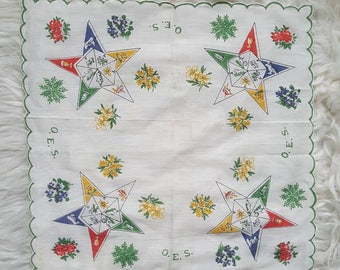 Order of the Eastern Star handkerchief. Vintage 60s