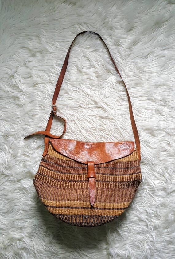 Antique Elephant grass basket bag. Vintage 60s/70s hippie purse. Basket bag. Africa bag