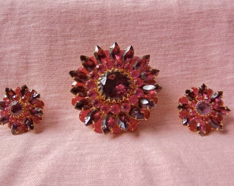 Judy Lee Demi Parure Cranberry Rhinestone Earrings and Brooch, 1950's