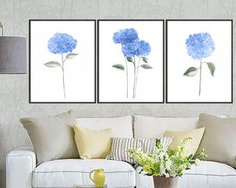 Set of 3 hydrangea watercolor art print hydrangea painting, Flower painting, Floral art print, Botanical art