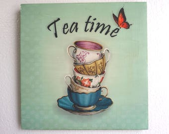 """Sublimated """"Tea Time"""" Decorative Kitchen Wooden sign, Handmade - Housewarming Gift - New Home Gift"""