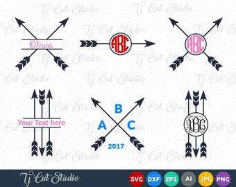 Tribal Arrow Svg, Arrows Svg, Arrow Monogram Svg, Circle Arrow Svg, Svg Files for Silhouette Cameo or Cricut Commercial & Personal Use.