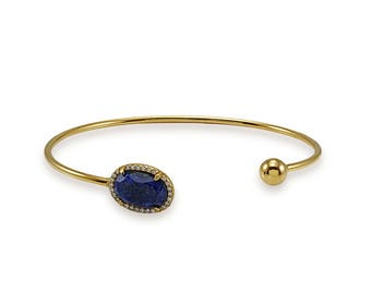 Silver Lapis Lazuli Cuff Bracelet,CZ,Wedding Jewelry,Bracelets,Bridal Jewelry,Sterling Silver Cuff,Statement Bracelet,Fashion Bracelet