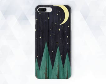 Phone case forest iPhone 7 Plus case Phone case moon iPhone X case iPhone case wood Google Pixel 2 case Dark wood case Galaxy s8 case AC_128