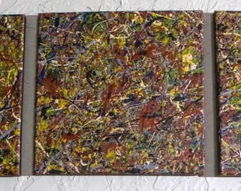 Triptych painting 2. Original abstract art Jackson Pollack inspired