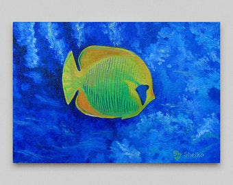 Fish painting oil, Original artwork,Blue yellow сanvas art