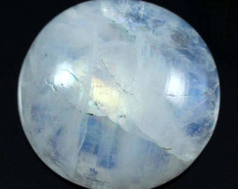 Natural Rainbow Moonstone Beautiful Quality Gemstone Cabochon, Round Shape Loose Gemstone For Jewelry Making, 24.05 Cts 21x21x7 mm, DN-30