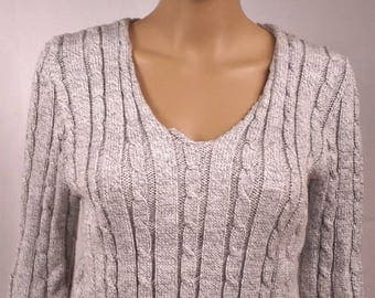 Sweater-women-neck V - knit is hand-made in France-wool-color - size38 - 0163