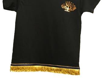Boys Black w/Gold OneKingdom Logo T-Shirt Fringes perfect for Hebrew Israelites