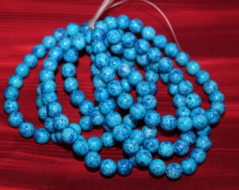 Round beads / shiny / blue 2 decor / 8mm (25pcs)