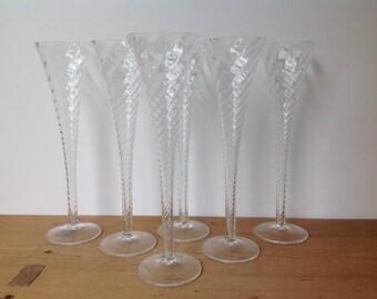 Vintage Hollow Stem Flute Champagne Spiral Set of 6