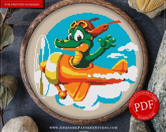 Crocodile Cross Stitch Pattern for Instant Download *P018 | Funny Cross Stitch|Easy Cross Stitch| Cross Stitch PDF| Modern Cross Stitch