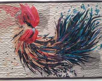The Rooster no 3, art quilt, textile wall hanging, 45x31 cm