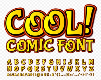 Red and yellow cool comic vector font; Available in png transparent background