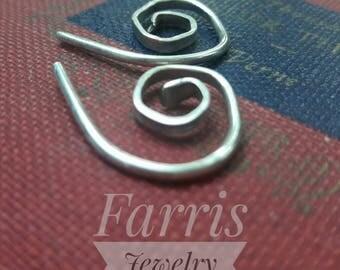 14 gauge sterling silver spiral earrings