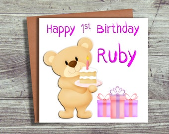 First Birthday Card, Personalised Card, Daughter, Sister, Niece, Granddaughter
