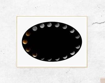 Moon Print, Moon Phases Print, Moon Poster, La Lune Print, Luna Print, Lunar Phases, Moon Phase Poster, Lunar Phases Print, Moon Wall Art