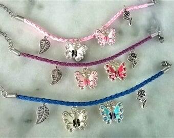 PU Leather butterfly bracelet