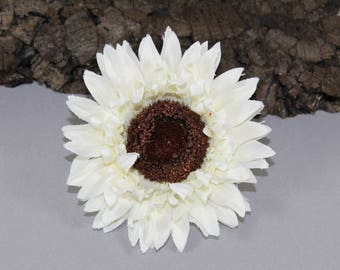 Vintage inspired sunflower rockabilly hair flower/Hairflower white