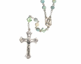 Amazonite Gemstone - Sterling Silver Rosary made with Amazonite Gemstones and Swarovski Crystal Elements