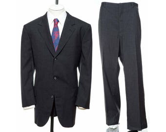 46L Vintage Brook Brothers Light Wool CHARCOAL GRAY Two-Piece SUIT Tall Jacket Pants Trousers Blazer