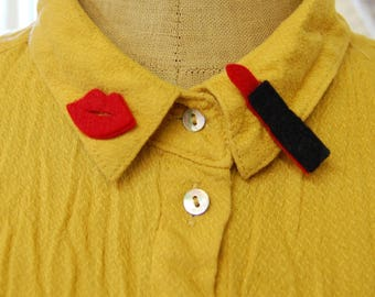 Lips and Lipstick Collar Pins, Set of Two Lapel Pins,