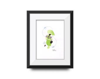 Original Abstract Watercolour Painting/ Art - Green and Purple, Contemporary style