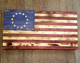 Rustic Colonial 13 Star Betsy Ross Wooden American Flag
