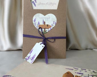 Lavender Wedding Invitation Card with Ribbon and Heart, Beautiful Floral Purple Wedding Invitations, Custom Printing, Free Shipping