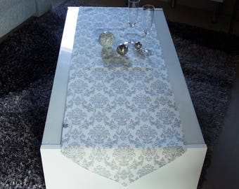 Baroque table runners in cream grey, 155 x 45 cm