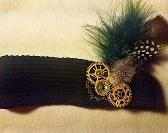 Steampunk Bullet Shells, Chains, and Gears Jewelry Headband. 9mm bullet shell and 20 Gauge Shotgun Shell  - Bullet Jewelry- Gifts for her