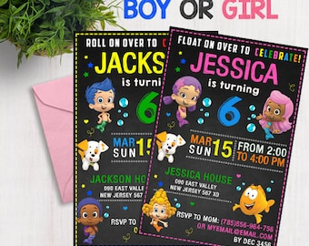 Bubble Guppies Invitation,Bubble Guppies Birthday,Bubble Guppies Party,Bubble Guppies Card,Bubble Guppies Printable,Bubble Guppies printable