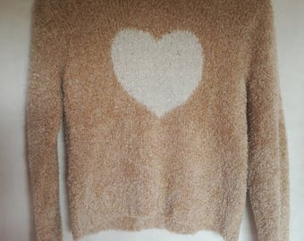 Vintage 90's Sweater/ Pullower With Heart/ Jumper/ Small Womens Sweater/ Girls Pullower/Winter Sweater/ Brown&White Jumper/ Size S