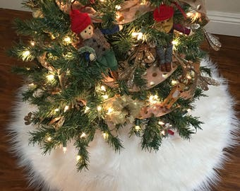 2 Foot Luxury Custom White Faux Fur Christmas Tree Skirt Holiday Decor 24