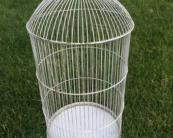 Vintage Wire Chippy White Bird Cage Wedding Farmhouse Decor