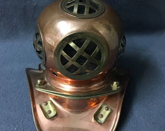 Vintage Desk Size Copper Deep sea Divers Helmet Replica US Navy Divers Helmet