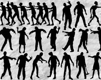 18 Zombie Silhouettes | Zombie Clipart | Halloween Silhouettes | Halloweeen Decor | Zombie SVG cut file | vectors | printable | print