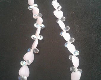 Pink hearts,clear iridescent beaded necklace