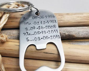 Men's Key Chain, Stainless Key Chain,  Bottle Opener, Gift for Husband, 6th Anniversary, Iron, Personalized, Family, Engraved
