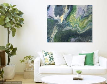 Original Abstract Acrylic Painting on Stretched Canvas, Modern Contemporary Art, Fluid Painting, Green Yellow Gray Painting, Wall Decor, OAK
