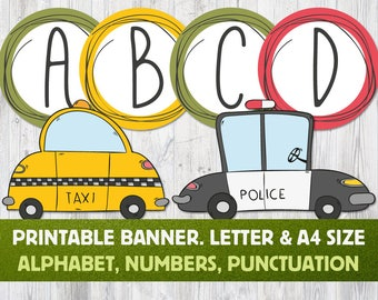 Cars Printable Banner: Letters A to Z, Numbers and Punctuation. Alphabet Bunting, Birthday Banner, Boy Banner, Cars Birthday Decorations